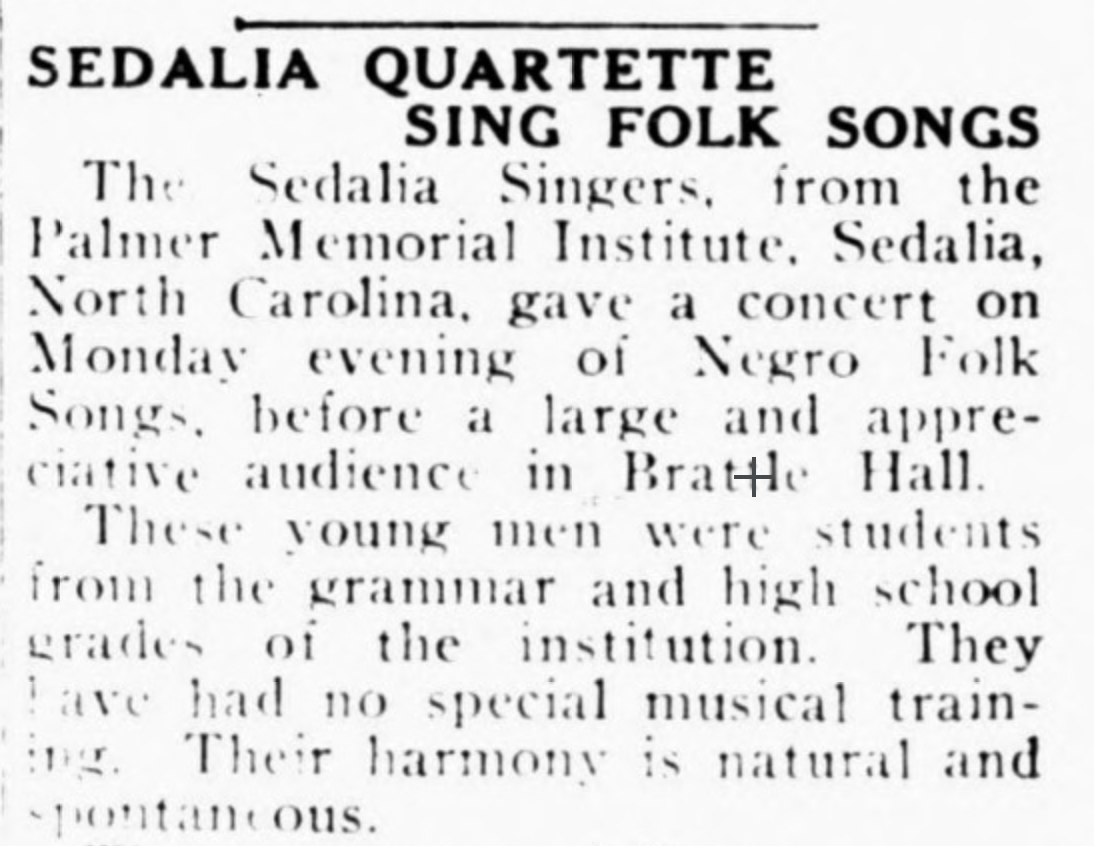 "First couple paragraphs from article ""Sedalia Quartette Sing Folk Songs"""
