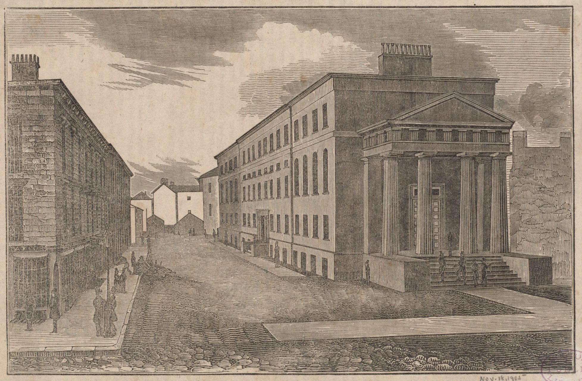 Print of the Boston Court House from the street.