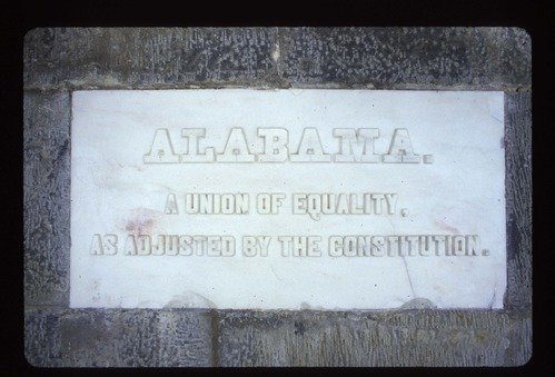 Grey Marble Stone with raised letters with the word Alabama on top