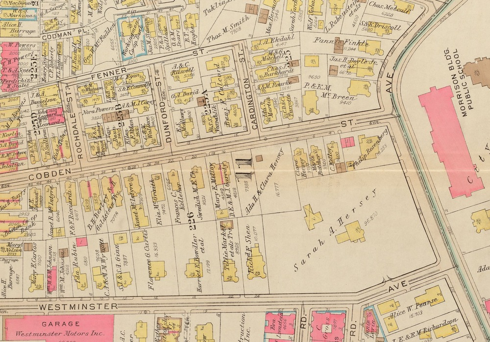 Map of Cobden Street in Roxbury, Boston. 1931