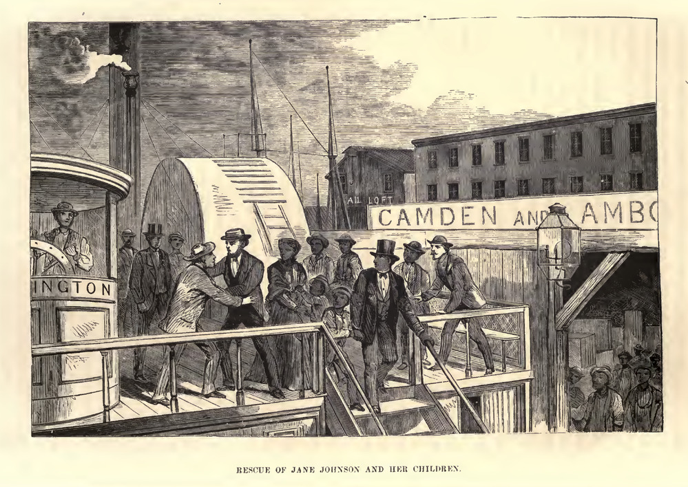 A sketch of Jane Johnson and her sons leaving their enslaver on the boat.