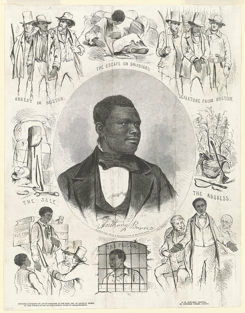 Political cartoon of Burns in the center, with sketches of different aspects of his life around him.