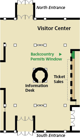 Map of the Mammoth Cave National Park Visitor Center showing the location of the Backcountry Permit Window at the far left of the Ticket Sales windows.