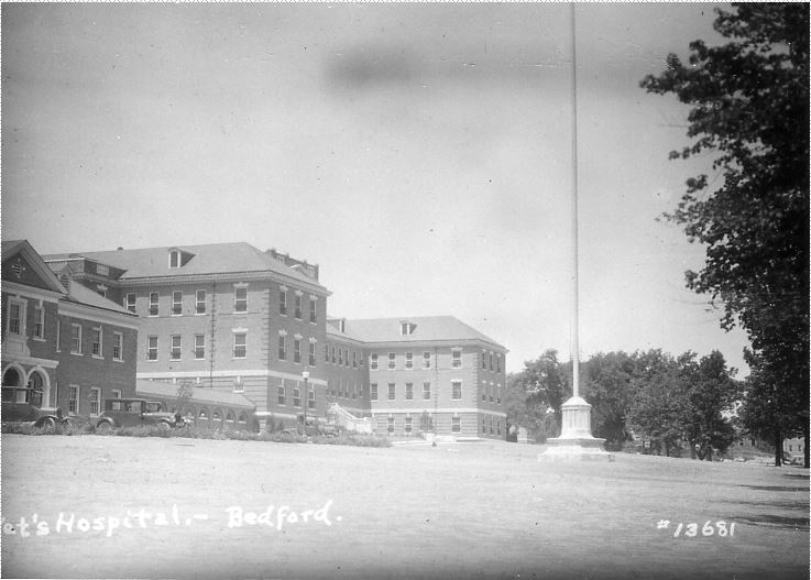 Exterior of Building #9 of Bedford Veterans Administration Hospital.