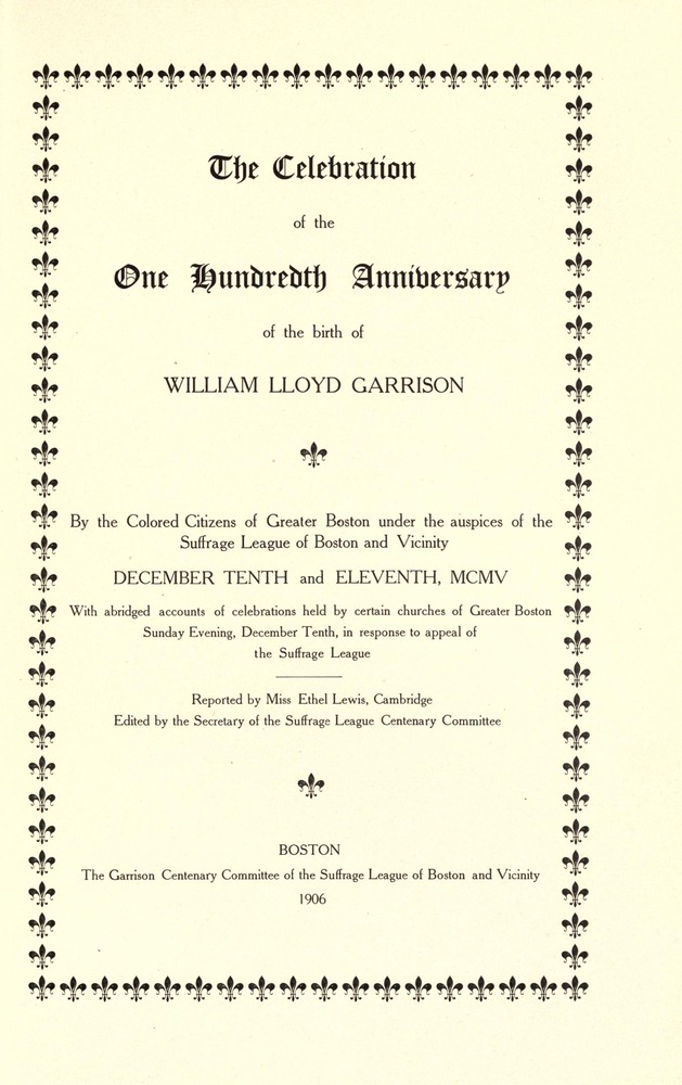 Title page of a pamphlet for a 100th Birthday Celebration of William LLoyd Garrison