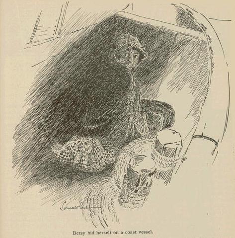 Engraving of a woman hiding on a ship.