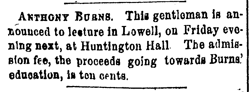 Newspaper clipping advertising Burns' lecture.