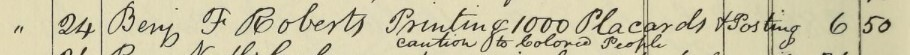 entry for Benjamin Roberts in Boston Vigilance Committee Records