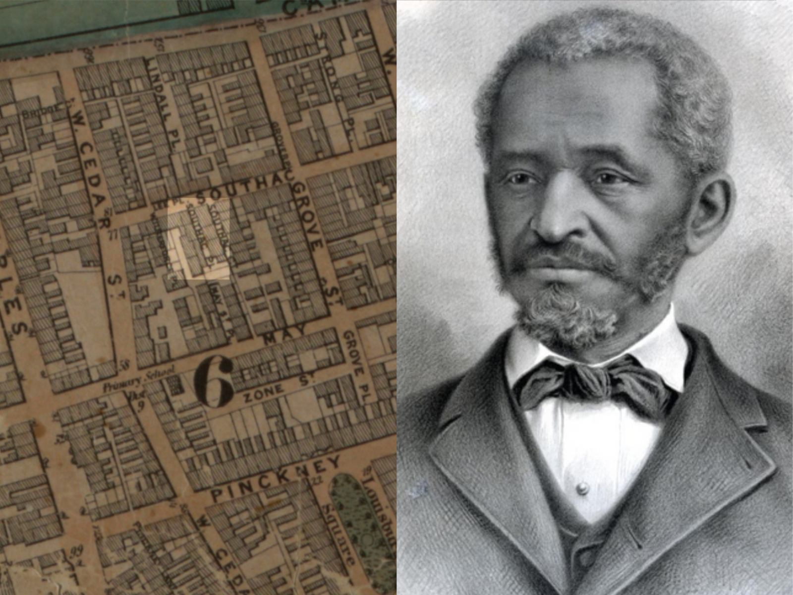 Lewis Hayden (right) took Shadrach Minkins to a safe house on Southac Place (highlighted on left) to hide.