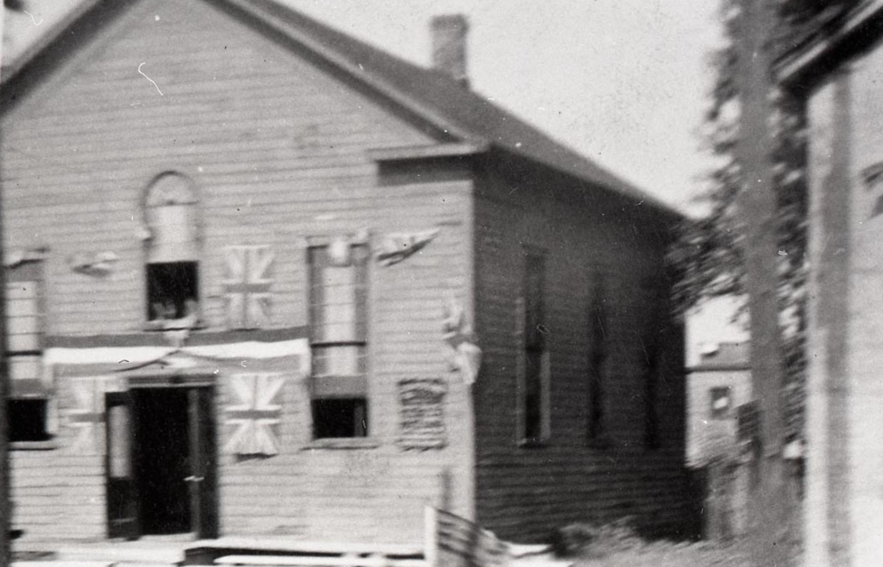Blurry black and white image of Zion Baptist Church.