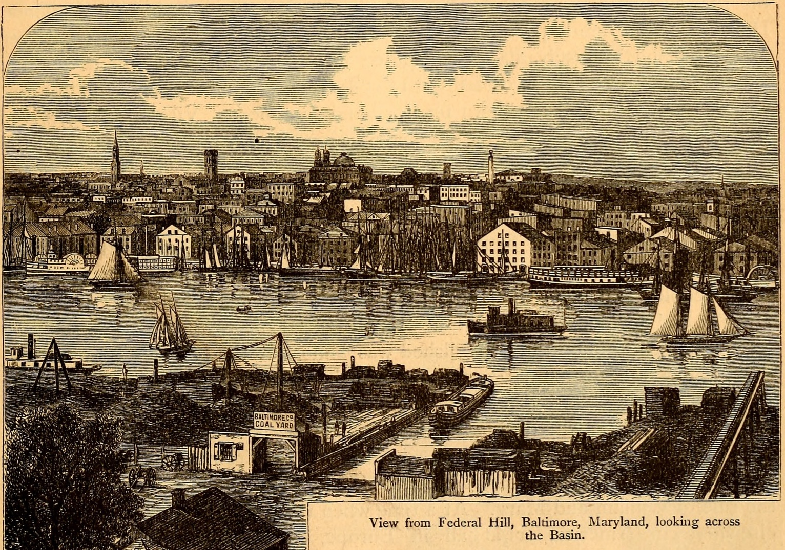 Print image of Baltimore harbor.