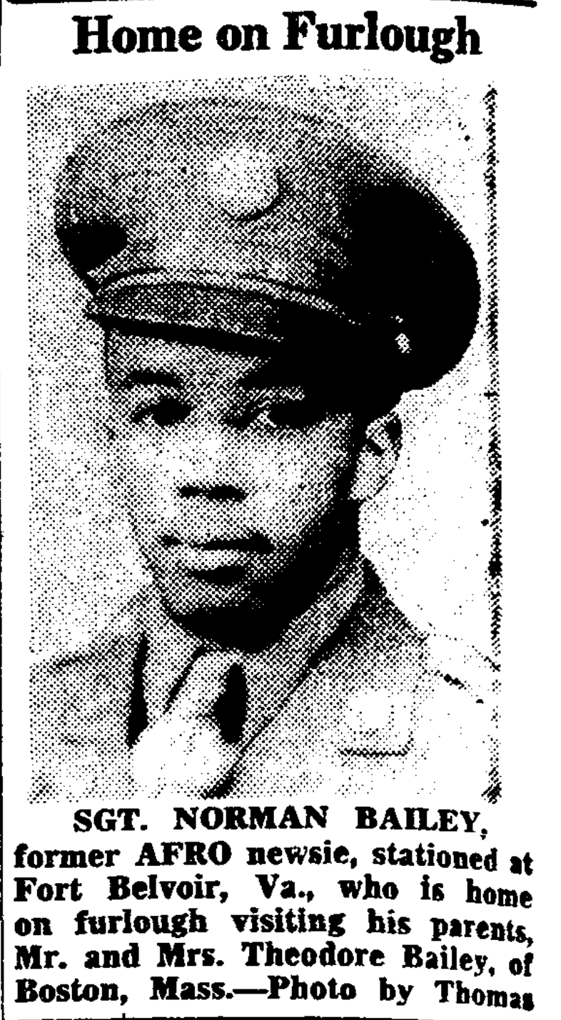 Article about Theodore Bailey's son's visit in July 1943.