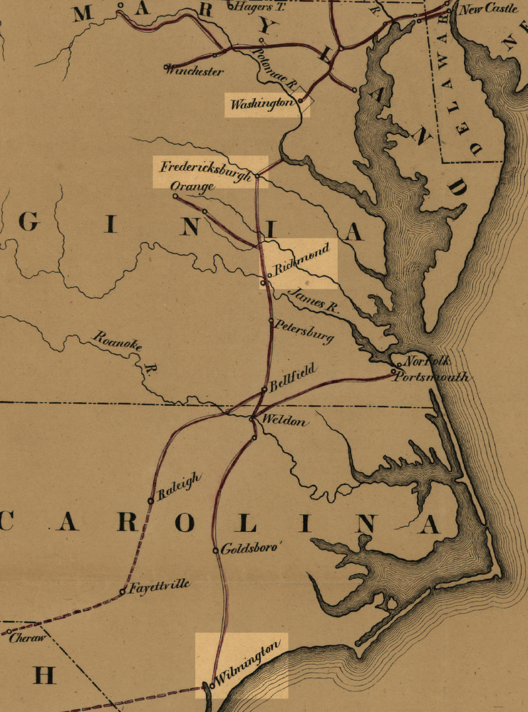 Map of train routes from North Carolina to Maryland.