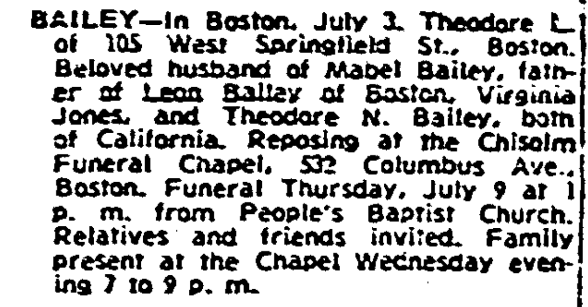 Death notice for Theodore Bailey, 1959.