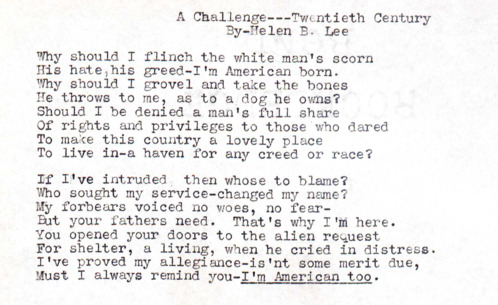"""A Challenge"" A poem written by Helen B. Lee"