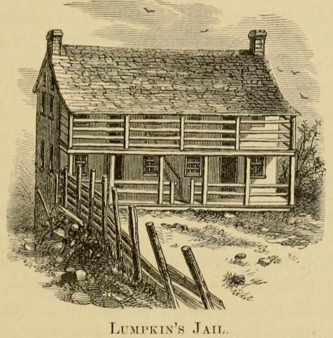 Sketch of Lumpkin's Slave Jail, a small, two-story building.