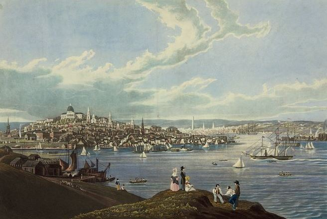 A painting of Boston and Boston Harbor with the Massachusetts State House and the Bunker Hill Monument in view.