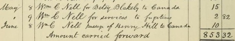 Record book that lists William C. Nell assisting Betsy Blakeley