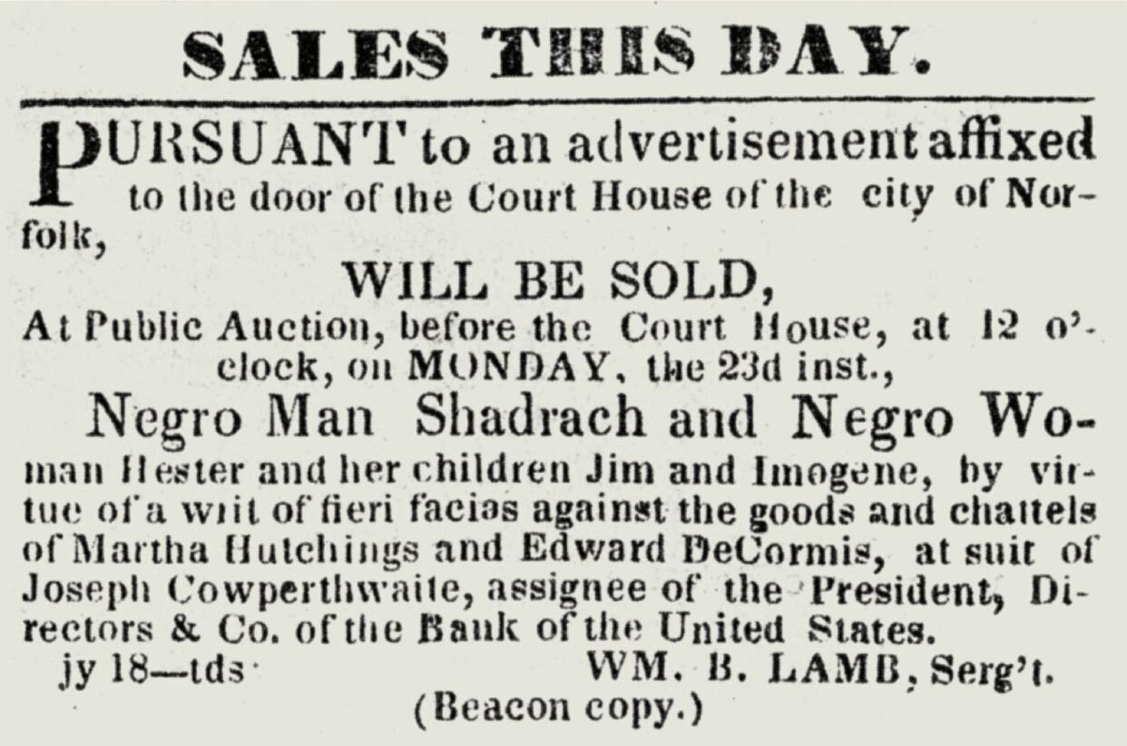 Newspaper clipping that advertises the selling of enslaved people, including Shadrach Minkins.