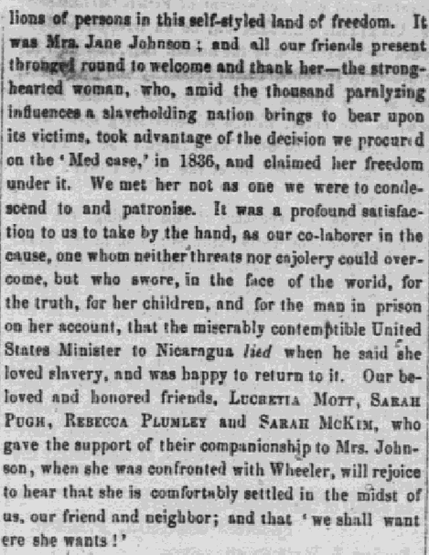 Clipping from the Liberator about Jane Johnson attending an Anti-Slavery Bazaar.