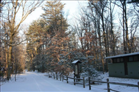 Winter campground, Greenbelt Park, 2015.. Snow-covered campground.