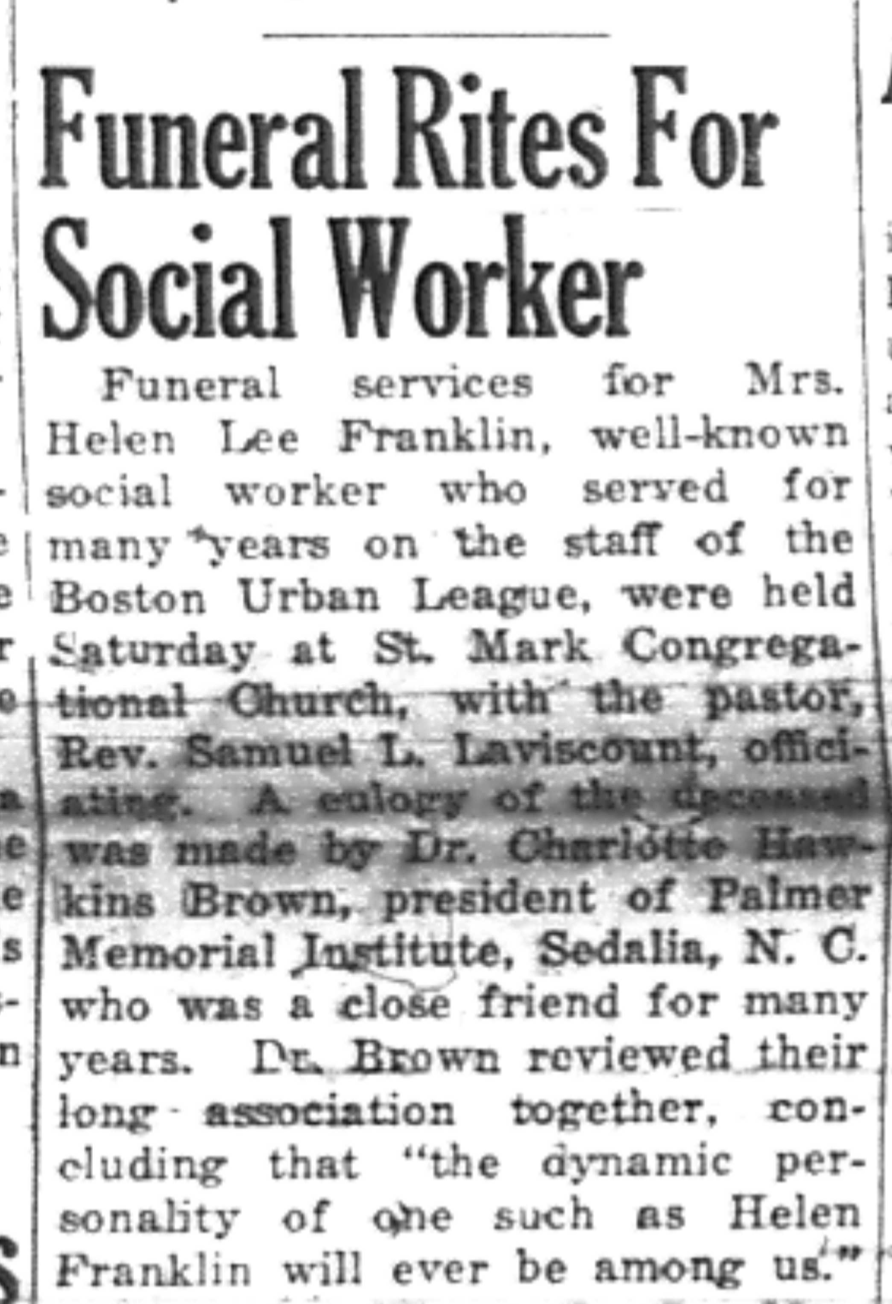 First paragraph of Helen Lee Franklin's obituary from January 29, 1949