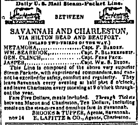 Newspaper advertisement for steamers from Savannah to Charleston.