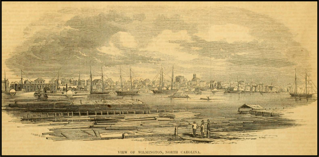 Engraving of the harbor of Wilmington, North Carolina