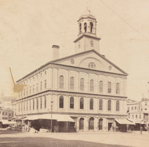 Sepia image of Faneuil Hall