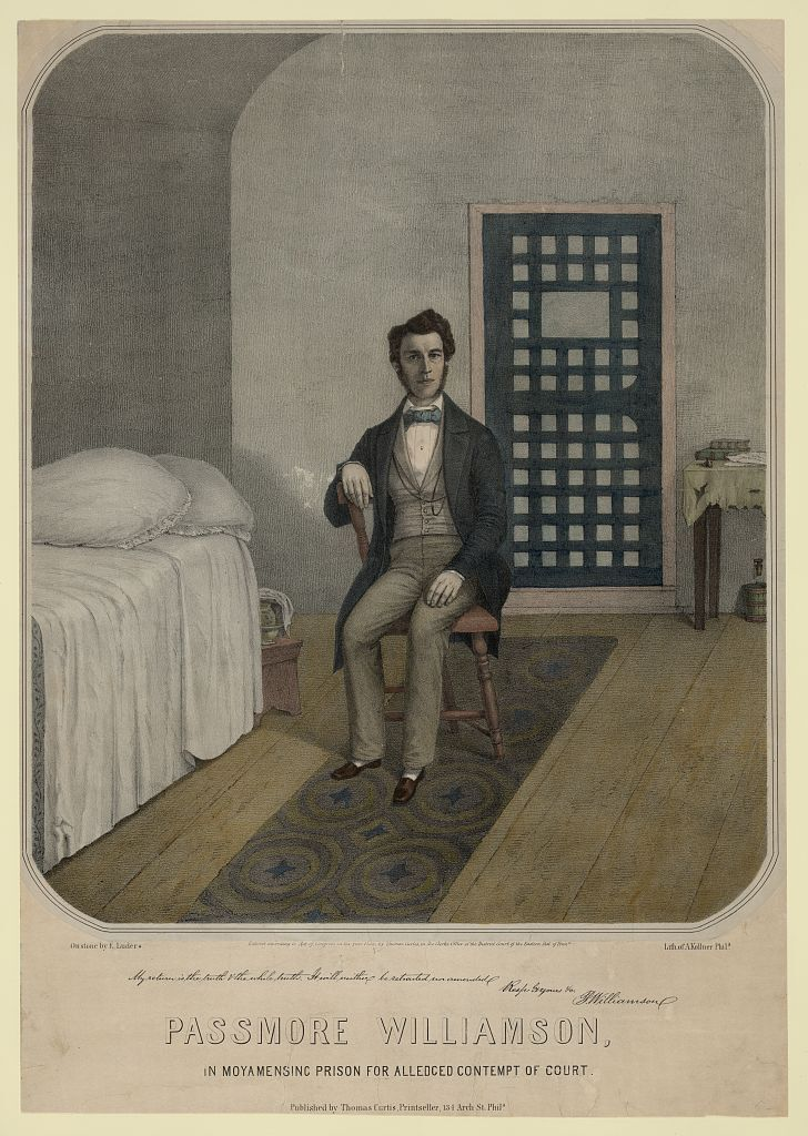 Illustrated image of Williamson sitting in a prison cell.