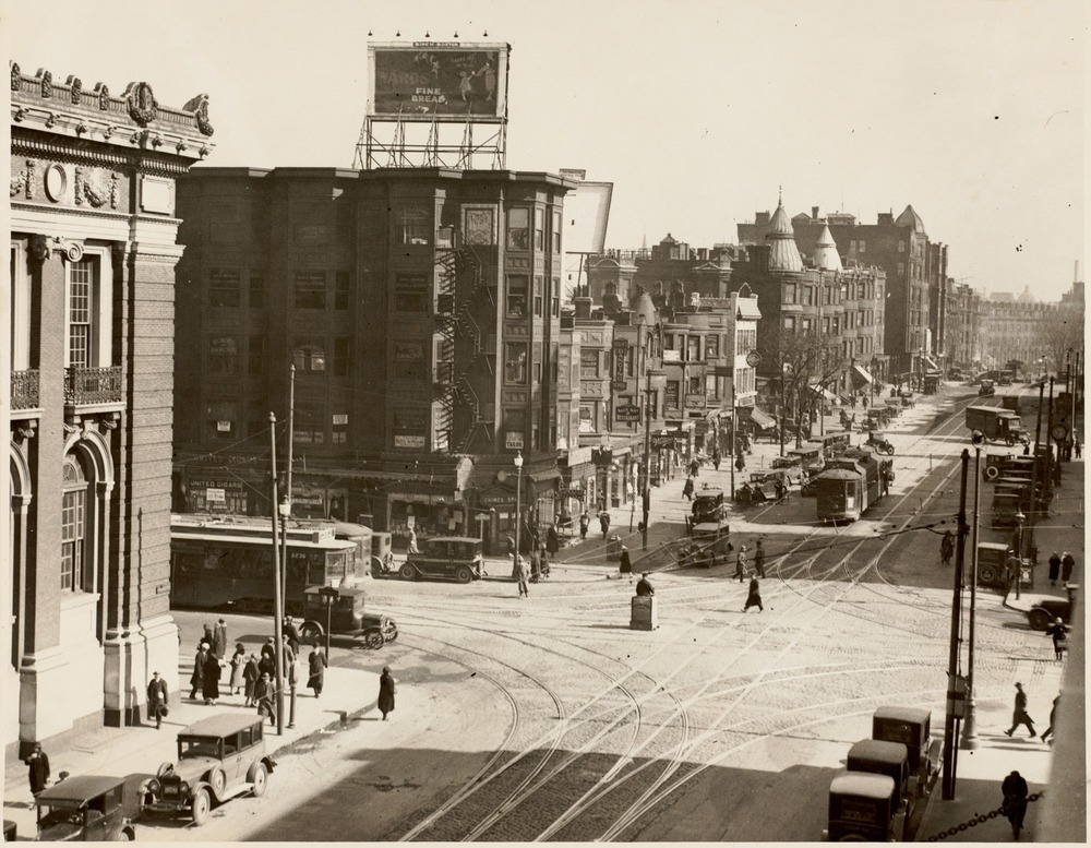 Mass. Ave. at Huntington intersection showing corner of Horticultural Hall.