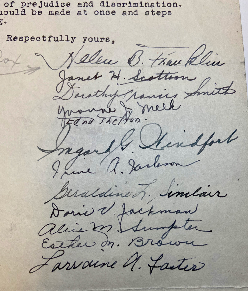 List of Helen Franklin and 11 other women's signatures on a letter.