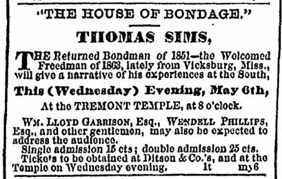 Newspaper clipping advertising a lecture by Thomas Sims at Tremont Temple