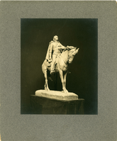 "Plaster Model of the Custer Statue by E. C. Potter. LIBI_00019_00887; A black-and-white photograph, mounted on grey mat, of plaster models for the General Custer statue by sculptor E. C. Potter; photographed by a. B. Bogart; created date.  Formerly copy 2 of C-356.; Print, Photographic [Mounted on Board]; Courtesy of the National Park Service, Little Bighorn Battlefield National Monument, LIBI_00019_00887, A. B. Bogart, ""Plaster Model of the Custer Statue by E. C. Potter,"" date unknown"