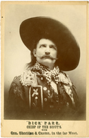 "Dick Parr in a Large Hat. LIBI_00312_11111; Albumen print. This image depicts Dick Parr. He is wearing a large, wide-brimmed hat, a checkered neckerchief and a decorated shirt. The words: "" ""Dick"" Parr, Chief of the Scouts with Gen. Sheridan & Custer, in the far West."" are printed below the image. The mark for the Kern Brothers Photographic and Art Studio is on the verso. A handwritten note in the upper right corner reads: ""11-25-05"". This image came in an envelope with the written description: ""Dick Parr Chief of the Scouts with Gen. Sheridan and Custer"". The envelope was from the New York Department of Health."" This image was created by the Kerns Brothers Photographic Art Studio, circa November 25, 1905. ; album, photograph;Courtesy of the National Park Service, Little Bighorn Battlefield National Monument, LIBI_00312_11111, Kern Brothers Photographic and Art Studio, ""Dick Parr in a Large Hat,"" circa November 25, 1905."