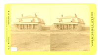 "An Officer's Home at Fort Keogh with Figures on the Porch. LIBI_00030_00759; Stereographic card, two photographs, depicting an officer's home with figures on the porch. Printed text on the  left reads: ""Photographed and Published by S.J. Morrow, Yankton, D.T."" On the right the text reads: ""Photographic Views from the Great North West"".  Pencil notation on the back reads: ""A-30 Box 1""; ""Fort Custer"" (Custer Crossed out and Keogh written above); ""C-759"". Stamped in red ink reads ""NEGATIVE CBNM"". ; photograph, stereoptican ;  Courtesy of the National Park Service, Little Bighorn Battlefield National Monument, LIBI_00030_00759, S. J. Morrow, ""An Officer's Home at Fort Keogh with Figures on the Porch,"" date unknown"