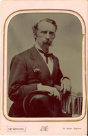 "General George Armstrong Custer in Civilian Clothes Holding His Hat. LIBI_00019_00278; This item is an original tintype of General George A. Custer in civilian clothes.  The collodion emulsion tintype is 4 3/8 x 6 3/4"" mounted in the original pink folder and was produced circa 1871 by Edward M. Estabrooke of New York.  The subject is shown in long bust view.  On the front, a typed notation reads, ""Estabrooke, 31 Union Square.""  On the verso, a handwritten notation reads, ""Genl. G.A. Custer - Born in 1839  & made a name for himself.""Photograph reprinted in ""Custer in Photographs"" by D. Mark Katz, page 119.; Tintype [Photograph]; Courtesy of the National Park Service, Little Bighorn Battlefield National Monument, LIBI_00019_00278, Edward M. Estabrooke, ""General George Armstrong Custer in Civilian Clothes Holding His Hat,"" circa 1871"