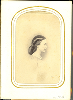 "Elizabeth Bacon Custer in Right Profile. LIBI_00295_10714; An albumen portrait of Libbie Custer in right profile. She is wearing a light-colored dress with a white color. Her hair is tied up a bun. There is a gold pinstripe border around the square photo. A stamp in black ink on the verso reads: ""Brady's National Photographic Portrait Galleries, Broadway & Tenth Street, New York and No. 352 Pennsylvania Ave, Washington, D.C."" The image was taken by Mathew Brady on an unknown date. ; photograph;  Courtesy of the National Park Service, Little Bighorn Battlefield National Monument, LIBI_00295_10714, Mathew B. Brady, ""Elizabeth Bacon Custer in Right Profile,"" date unknown."