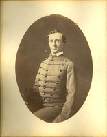 "George Armstrong Custer in West Point Uniform, Class of 1861. LIBI_00019_01997m ; A leather-bound photograph album, containing the individual portraits (photographic prints, with oval mats) of the graduating class of 1861, of West Point, United States Military Academy. Other photographs were possibly included.  Pencil notation reads, ""Acc. #88, see accession folders KBD 07feb1991.""  Corrected the accession back to LIBI_00019 see note to file in the accession 19 file (12/16/15 SS)Condition note: bronze disease is apparent on photographs due to gold or bronze detail of the album pages (print mats)    Formerly: Custer_Custer-T; #655Graduation Portrait of George A. Custer; Album, Photographic; Courtesy of the National Park Service, Little Bighorn Battlefield National Monument, LIBI_00019_01997m, Unknown Photographer, ""George Armstrong Custer in West Point Uniform, Class of 1861,"" 1861"