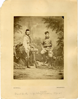 "Portrait of General George Armstrong Custer with the Grand Duke Alexis Alexandrovich. LIBI_00019_00271; An albumen photograph of General George A. Custer and the Grand Duke Alexis, standing view; mounted on card; dated circa 1872, by Howell, of New York. (note:  upper left corner torn off along edge 12/5/90 DSO); Print, Photographic [Mounted on Card]; Courtesy of the National Park Service, Little Bighorn Battlefield National Monument, LIBI_00019_00271, William R. Howell, ""Portrait of General George Armstrong Custer with the Grand Duke Alexis Alexandrovich,"" circa 1872"