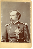 "George Armstrong Custer in Dress Uniform, Long Mustache and Short Hair. LIBI_00371_13496; Print, Photographic: Custer, George Armstrong, dress uniform, long mustache,short hair.; Print, Photographic; Courtesy of the National Park Service, Little Bighorn Battlefield National Monument, LIBI_00371_13496, Unknown Photographer, ""George Armstrong Custer in Dress Uniform, Long Mustache, and Short Hair,"" April 1876"