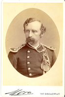"Lieutenant Colonel George Armstrong Custer Seated in Full Military Dress; Bust View and Oval Print. LIBI_00019_00288; This item is an albumen cabinet card (card-mounted photograph) of Lieutenant Colonel George A. Custer in bust view and wearing full military dress.  The oval-shaped photograph is 3 5/8 x 4 5/8"" (4 1/4 x 6 1/2"" mounted) and was produced circa 1875 by Jose M. Mora of New York.  The photographer's stamp is printed on the front.Note: ""Pkg 4"" handwritten on the verso. Photograph reprinted in ""Custer in Photographs"" by D. Mark Katz, page 133.; Cabinet Card [Card Photograph]; Courtesy of the National Park Service, Little Bighorn Battlefield National Monument, LIBI_00019_00288, Jose M. Mora, ""Lieutenant Colonel George Armstrong Custer Seated in Full Military Dress; Bust View and Oval Print,"" circa 1875"