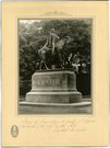 "Photo of the Custer Statue in Monroe, Michigan. LIBI_00025_01263; A black-and-white photograph, with cream and gray colored mat; depicting the Custer Statue at Monroe, Michigan. Handwritten notation and signature by Mrs. Custer. Removed from frame in April, 1972. ; print, photographic [with mat]; Courtesy of the National Park Service, Little Bighorn Battlefield National Monument, LIBI_00025_01263, Unknown Photographer, ""Photo of the Custer Statue in Monroe, Michigan,"" date unknown"