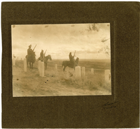 "Custer's Crow Indian Scouts on Horseback Among the Markers. LIBI_00030_00667; A photograph, mounted on brown-colored card, depicting a group of Custer scouts (Crow Indians), including White Man Runs Him, Hairy Moccasin, and Goes Ahead, on horseback, on Custer Battlefield; produced by Throssel, 1908.; print, photographic [mounted on card];  Courtesy of the National Park Service, Little Bighorn Battlefield National Monument, LIBI_00030_00667, Richard Throssel, ""Custer's Crow Indian Scouts on Horseback Among the Markers,"" 1908"
