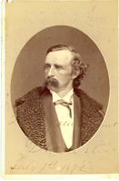 "General George Armstrong Custer Wearing a Fur-Collared Coat. LIBI_00019_00283; This item is an original albumen cabinet card (card-mounted photograph) of General George A. Custer in bust view and dressed in civilian clothes.  The oval-shaped photograph is 4 1/2 x 6 3/8"" mounted and was produced circa 1872 by Scholten of St. Louis, Missouri.  Foxing is evident on both the front and the verso.  The front of the item is signed, ""Truly your friend, G.A. Custer, July 1, 1872.""Note: ""Pkg 4"" handwritten on the verso. Photograph reprinted in ""Custer in Photographs"" by D. Mark Katz, page 95.; Cabinet Card [Card Photograph]; Courtesy of the National Park Service, Little Bighorn Battlefield National Monument, LIBI_00019_00283, J. A. Scholten, ""General George Armstrong Custer Wearing a Fur-Collared Coat,"" circa 1872"