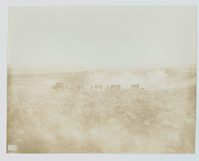 "Colonel William H. C. Bowen and General Frank E. Baldwin with a Skirmish Line. LIBI_00030_01174; A sepia-toned photograph depicting Colonel Bowen and General Frank Baldwin with a skirmish line. This photo was taken June 25th, 1886 at the Custer Battle Field. ""Barry"" is printed in the picture. On the back, a handwritten note in pencil reads: ""Custer Battle Field Taken at 6 a.m. June 25th/Col Bowen and Gen Frank Baldwin 1886/mounted"" The word mounted is underlined. Formerly C-670-b; print, photographic;  Courtesy of the National Park Service, Little Bighorn Battlefield National Monument, LIBI_00030_01174, D. F. Barry, ""Colonel William H. C. Bowen and General Frank E. Baldwin with a Skirmish Line,"" June 25, 1885"