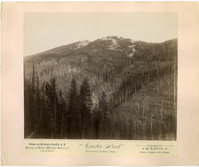 "Custer Peak, Black Hills. LIBI_00019_00579; An albumen photograph, mounted on a pink-colored card, of Custer Peak in the Black Hills showing Custer Mine; published by W. N. Hall, Couer d' Alene, Idaho for northern pacific RR; created on unknown date.; Print, Photographic [Mounted on Card]; Courtesy of the National Park Service, Little Bighorn Battlefield National Monument, LIBI_00019_00579, W. N. Hall, ""Custer Peak, Black Hills,"" date unknown"