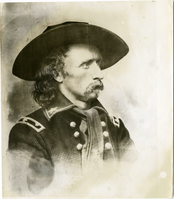 "George Armstrong Custer in Large Hat and Long Tie. LIBI_00019_00873; A black-and-white photograph of engraving or lithographic print depicting the bust of George A. Custer in large hat and red tie; printed by unknown photographer; created on unknown date.  Formerly copy 6 of C-324.; Print, Photographic; Courtesy of the National Park Service, Little Bighorn Battlefield National Monument, LIBI_00019_00873, Unknown Photographer, ""George Armstrong Custer in Large Hat and Long Tie,"" date unknown"