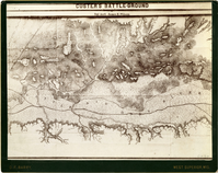 "Topographic Map of 'Custer's Battle-Ground' by Topographic Assistant James E. Wilson. LIBI_00081_06039; Photograph size 7"" x 9 1/4"" mounted on 8"" x 10"" heavy black card-board with gilt-edged. The image depicts the area of Custer's battle ground. ""Custer's Battle-Ground by Top. Asst. James E. Wilson"" is printed along the top. It was produced by topographic assistant James E. Wilson. The photograph is by D.F. Barry.Dustin number: 285; map; Courtesy of the National Park Service, Little Bighorn Battlefield National Monument, LIBI_00081_06039, D. F. Barry, ""Topographic Map of 'Custer's Battle-Ground' by Topographic Assistant James E. Wilson,"" date unknown"
