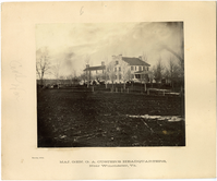 "Major General George Armstrong Custer's Headquarters Near Winchester, Virginia. LIBI_00019_00248; An albumen photograph, ""Major General George A. Custer's headquarters, near Winchester, VA"" mounted on card; by Boulsby (artist); dated circa 1864.; PRINT, PHOTOGRAPHIC [Mounted on card]; Courtesy of the National Park Service, Little Bighorn Battlefield National Monument, LIBI_00019_00248, Boulsby, ""Major General George Armstrong Custer's Headquarters Near Winchester, Virginia,"" circa 1864"